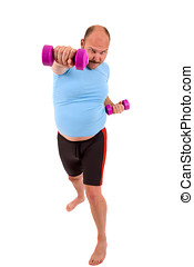 Exercising overweight man