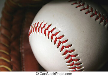Baseball and glove - A close up of a Baseball and glove