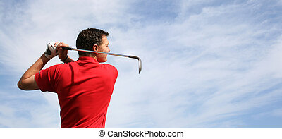 Golf Panorama - Young golfer hitting an iron against a half...