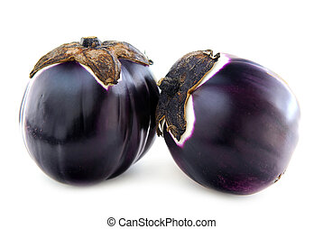 Eggplants - Two round eggplants (prosperosa) isolated on...
