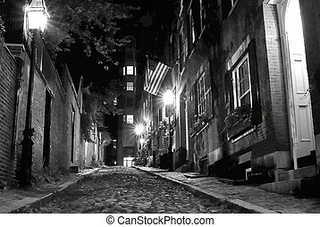 spooky boston - black and white night image of an old 19th...