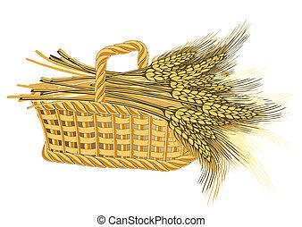 cesta, trigo, cosecha