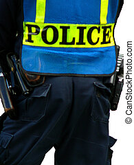 Holster of Policeman in Uniform Isolated Over White...