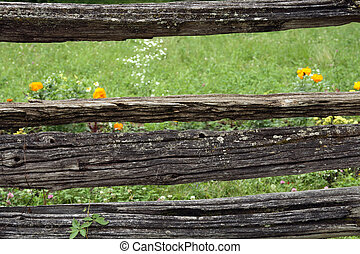 Very old rustic fence - Very old rustic mossy fence in the...