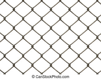 chainlink fence - a chain link fence on white background