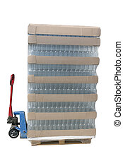 Pallet jack with a pallet of bottles