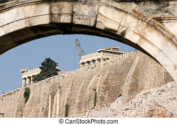 parthenon through arch