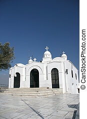 white church in athens