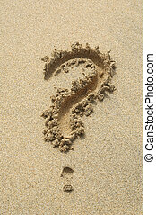 any questions - conceptual question mark in sand