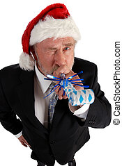 business Santa noise maker - Business man in santa hat...