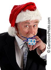 Business Santa and noisemaker - Business man in santa hat...