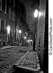 evening in old boston - black and white night image of an...