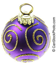 Blue Christmas bauble with golden swirls on white background