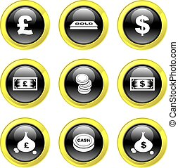 money icons - set of money icons on black glossy buttons...