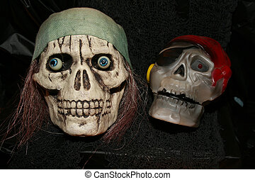 two pirate skulls make a spooky halloween