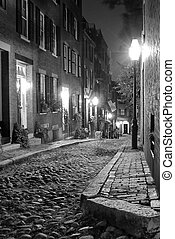 black and white boston - black and white image of an old...