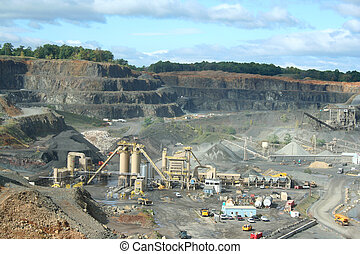 Rock Quarry - A Rock Quarry with equipment and trucks