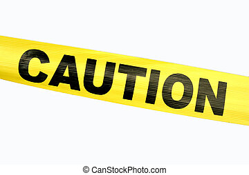 Yellow Caution Tape against a white background