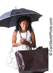 Its gonna rain - Beautiful brazilian girl looking upwards...