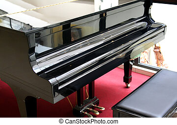 Grand piano - Black classical grand piano front view with...