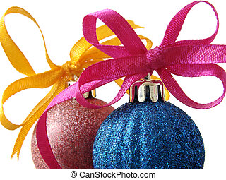 christmas baubles 1 - colorful christmas baubles with bows