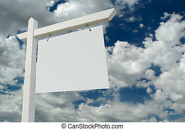Blank Real Estate Sign on Clouds & Sky Background - Ready...