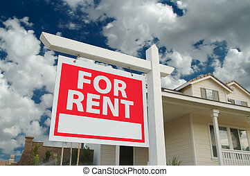 For Rent Sign and Home - For Rent sign in front of new home...