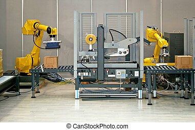 Two robots - Two robotic hands simultaneous work at...