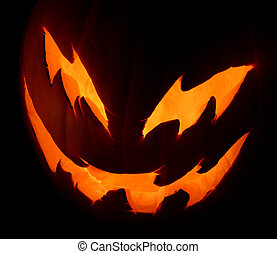 Mean Jack-o-Lantern - A mean looking jack-o-lantern glowing...
