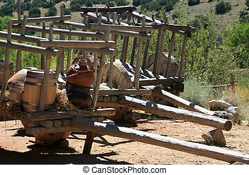 Ancient Wooden Carts - Ancient wooden carts from a...