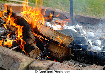 camp fire - Camp fire at day with burning wood