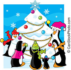 Ice Christmas - A family of penguins decorating a snow and...