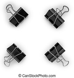 Four black metal clips on a white background