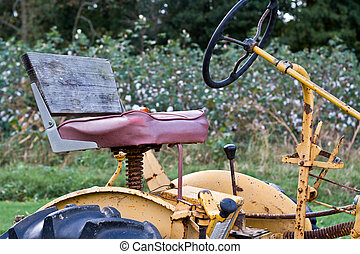 Vintage Tractor by a Cotton Field