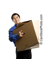 Moving businessman - An isolated shot of a businessman...