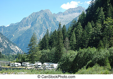 MOUNTAIN CAMPGROUND, recreational vehicle motorhome, camper,...