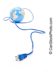 Network cable and Globe, concept of global Communication,...