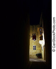 Mdina by Night - The old medieval city of Malta, Mdina, by...