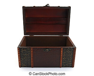 Empty treasure chest - Empty wooden treasure chest over...