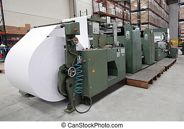 Rotary printing working in an industrial paper factory
