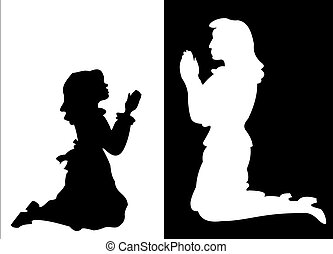 Girl and Woman in Prayer - Silhouettes of a young girl and a...