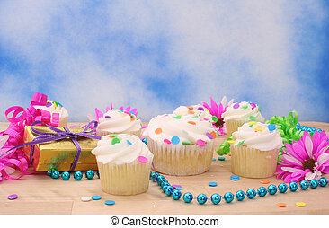 Cupcakes and Gift with Flower