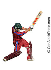 Cricket player - A cricket batsman in action, isolated on...