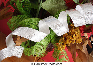 Christmass decoration - Ribbon material for a gift with...