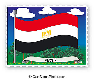 Stamp Egypt - Stamp with flag from Egypt