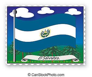 Stamp El Salvador - Stamp with flag from El Salvador