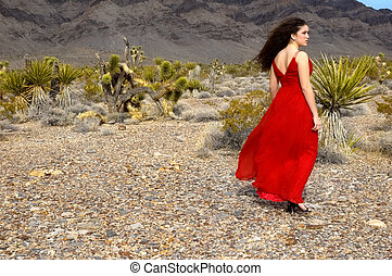 Evening Gown - A girl walking in the desert wearing a red...