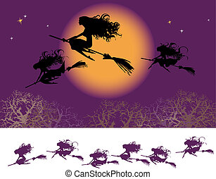 Witches fly at Halloween night party