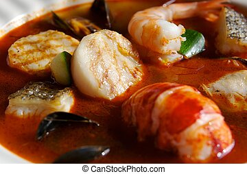 Seafood Soup with lobster scallops shrimp etc