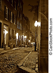 sepia night time in boston - sepia image of an old 19th...